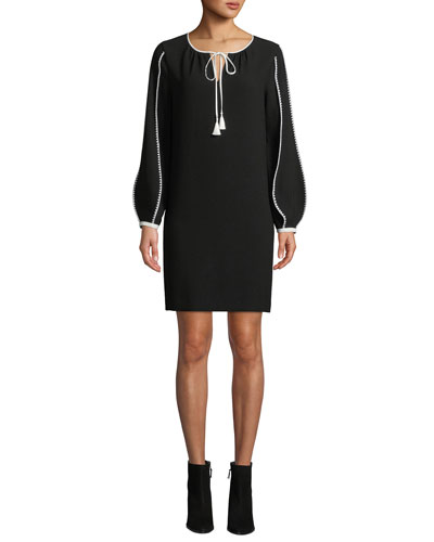 Attina Contrast-Trim Shift Dress