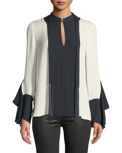 Karissa Long-Sleeve Two-Tone Silk Blouse