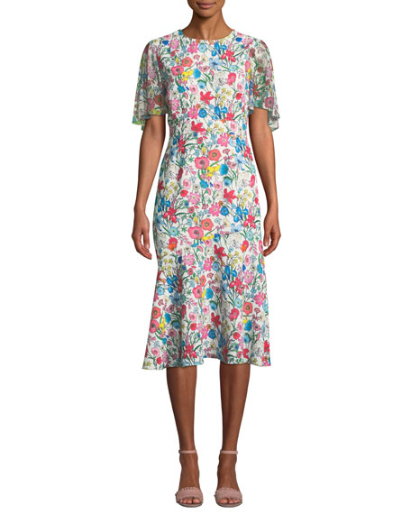 ELIE TAHARI Sabrina Floral Butterfly Sleeve A-Line Dress in White Multi
