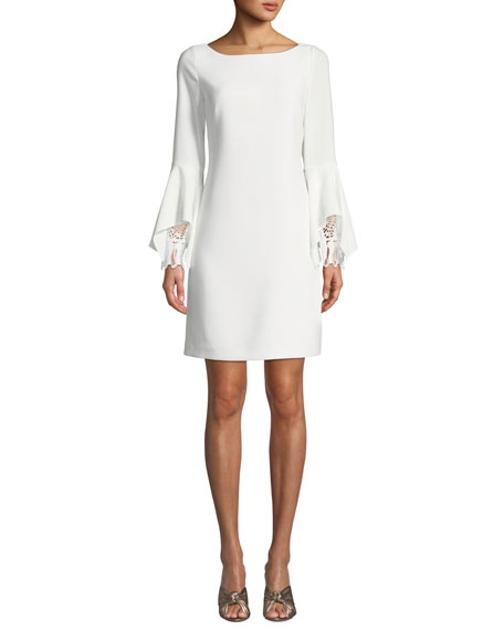 Elie Tahari Dori Boat-Neck Flared-Sleeve Sheath Dress