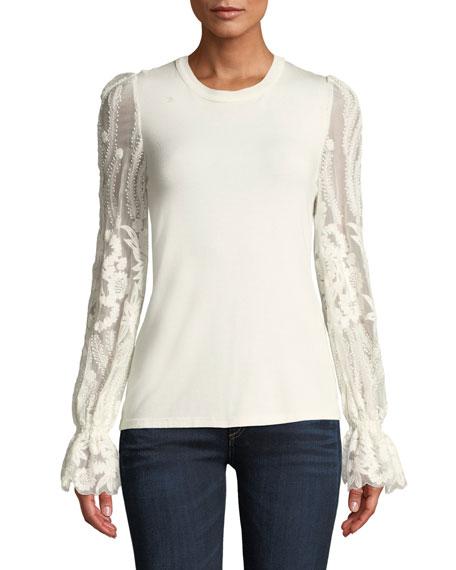 ELIE TAHARI Hamani Lace-Sleeve Sweater in Fresh Pearl