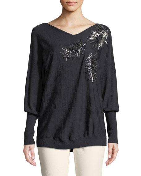 Fine-Gauge Merino-Wool Sequin Embellished Dolman Pullover