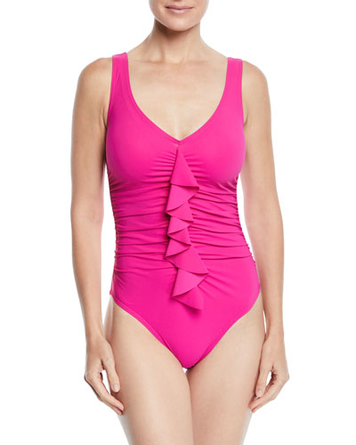 Underwire Flounce Ruffled One-Piece Swimsuit