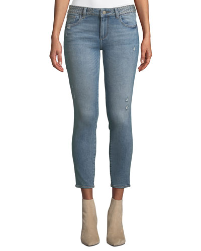 Florence Mid-Rise Instasculpt Studded Skinny Jeans