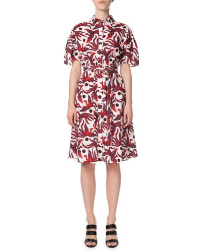 Belted Phoenix-Print Button-Front Shirt Dress