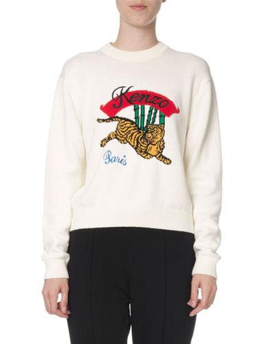 Jumping Tiger Embellished Mock-Neck Sweater