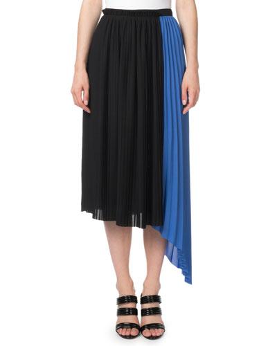 Pleated Asymmetrical Colorblock Midi Skirt