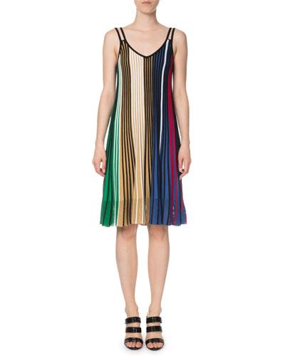 Vertical-Stripe Sleeveless Mesh V-Neck Dress