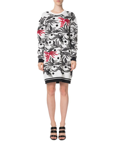 Phoenix Jacquard Long-Sleeve Sweater Dress