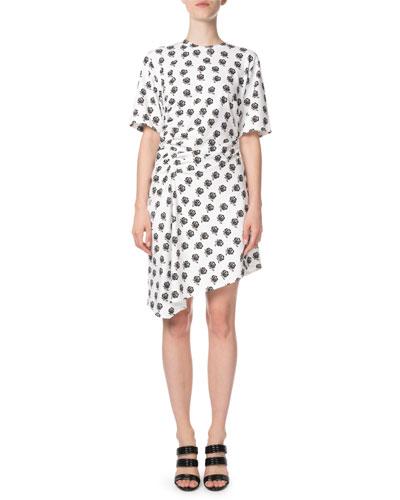 Asymmetrical Rose-Print Ruched Short Dress