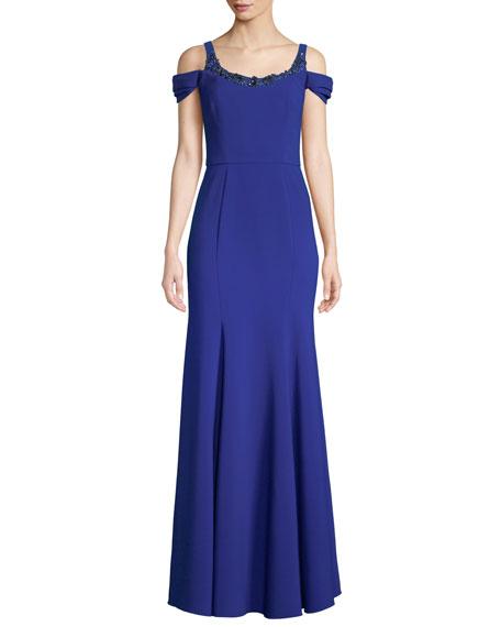 Stretch Crepe Cold-Shoulder Embellished Gown