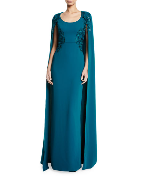 Marchesa Notte Embroidered Scoop-Neck Cape Gown