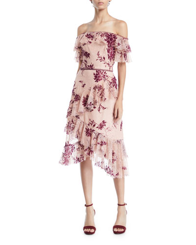 Off-the-Shoulder Flocked Lace & Ruffle Trim Dress