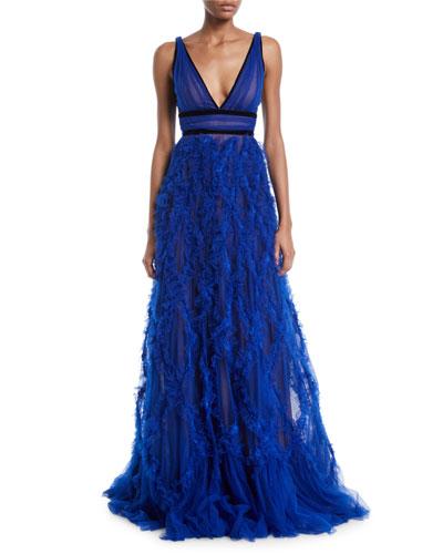 Lattice Textured & Velvet Trim Gown