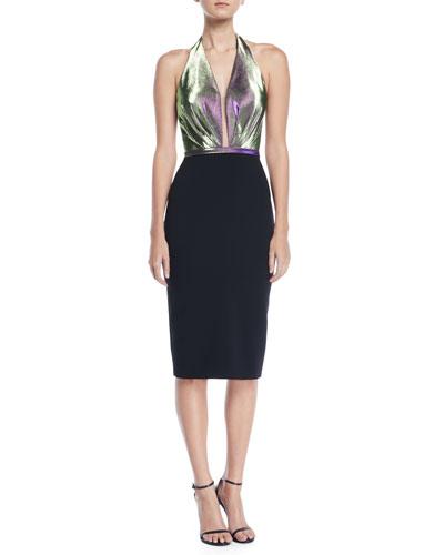 Halter Duochrome & Crepe Dress