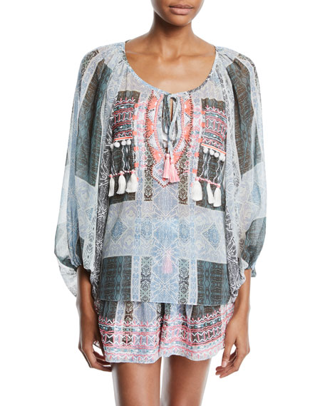Ramy Brook MYRA EMBROIDERED COVERUP BLOUSE WITH TASSELS