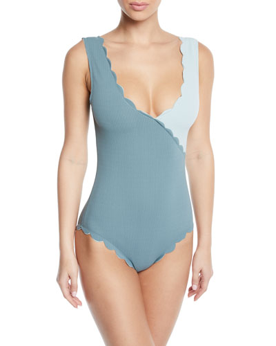 Canyon Point Scalloped Maillot One-Piece Swimsuit