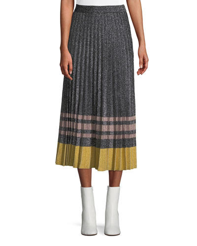 Pleated Metallic Knit Midi Skirt