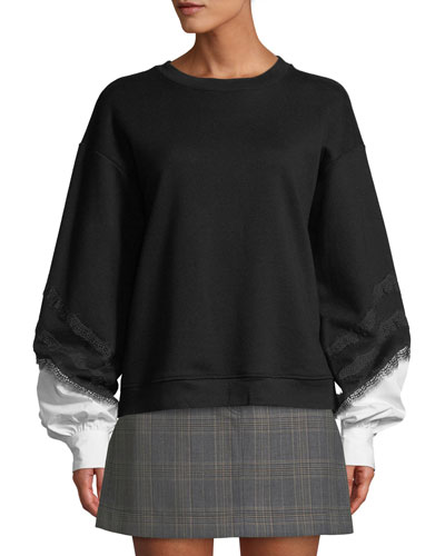 Crewneck Lace-Trim Sweatshirt with Poplin Sleeves