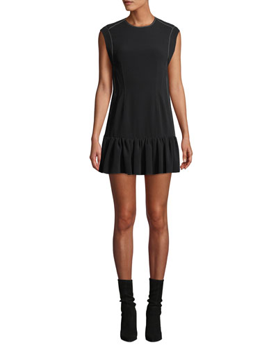 Sleeveless Ruffle-Hem Mini Dress with Topstitching