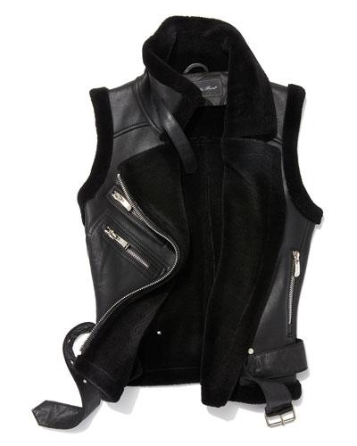 Leather Moto Vest w/ Fur Lining