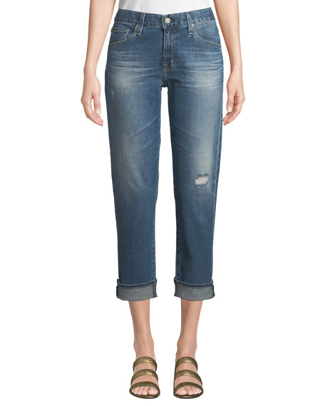 Ex-Boyfriend Mid-Rise Slim Crop Distressed Jeans, Medium Blue
