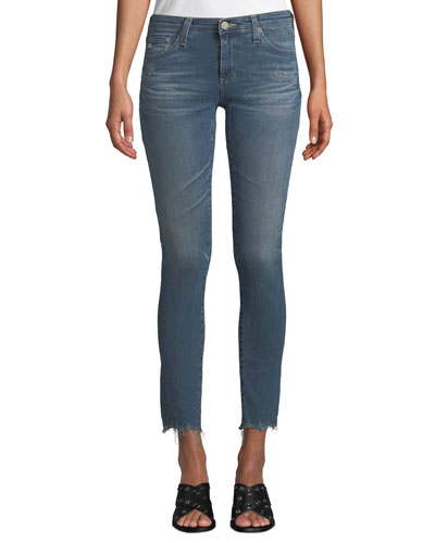 The Legging Super Skinny Ankle Jeans w/ Chewed Hem