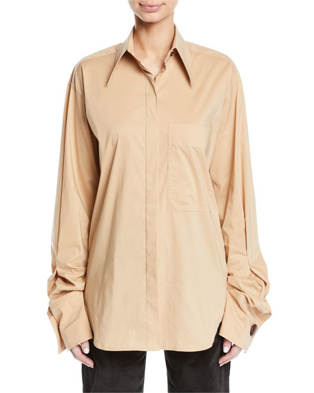 REJINA PYO Mira Oversized Button-Down Shirt in Neutrals