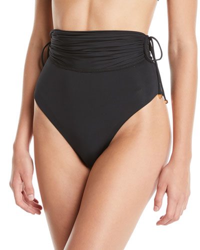 High-Waist Drawstring Bikini Swim Bottoms