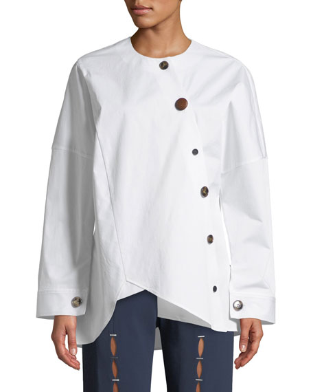 Image 1 of 1: Renee Asymmetrical Button-Down Shirt