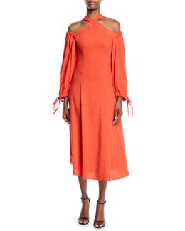 d4be3eaee81e REJINA PYO Odella Halter Cold-Shoulder Midi Dress