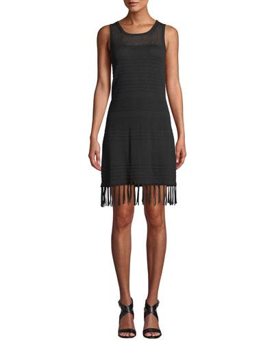 High-Neck Sleeveless Sweater Dress with Fringe