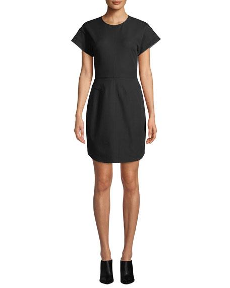 Structure Short-Sleeve Crewneck Short Dress