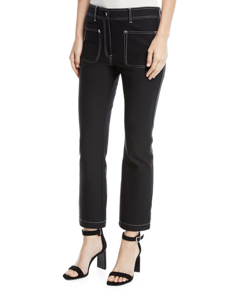 Derek Lam 10 Crosby Cropped Patch-Pocket Flare-Leg Trousers