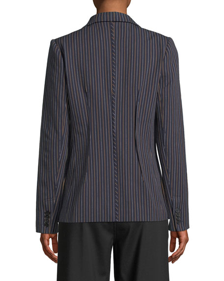 Power Striped Single-Button Blazer