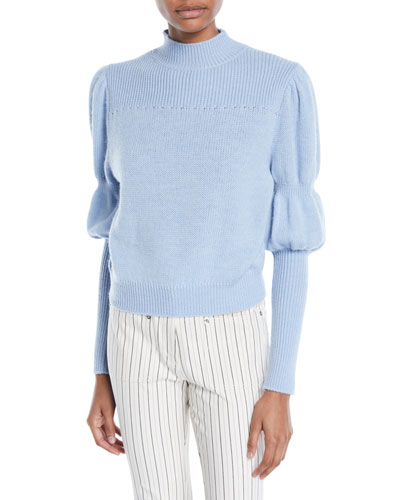 High-Neck Puff-Sleeve Wool Sweater