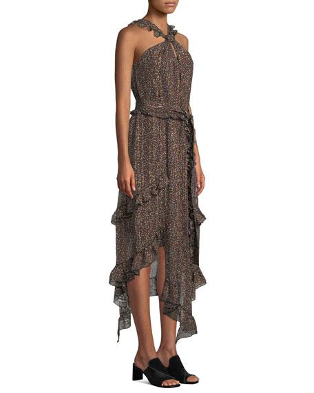 Floral-Print Asymmetrical Ruffle Halter Dress