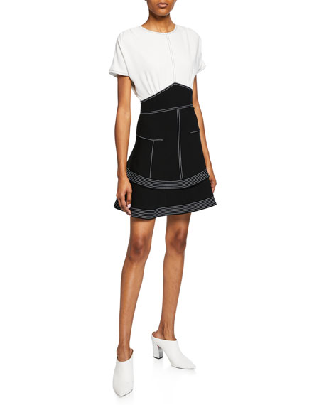 Derek Lam 10 Crosby Two-Tone Short-Sleeve Tiered Dress
