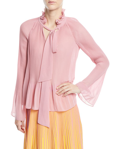 446cd7a58a2649 Derek Lam 10 Crosby Long-Sleeve Pleated Blouse With Ties