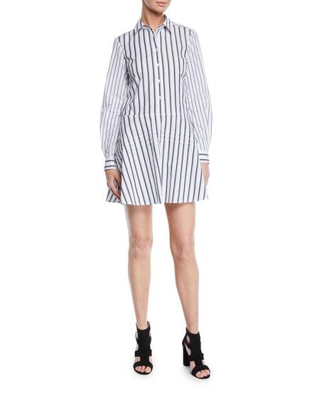 Derek Lam 10 Crosby Long-Sleeve Striped Cotton Shirt