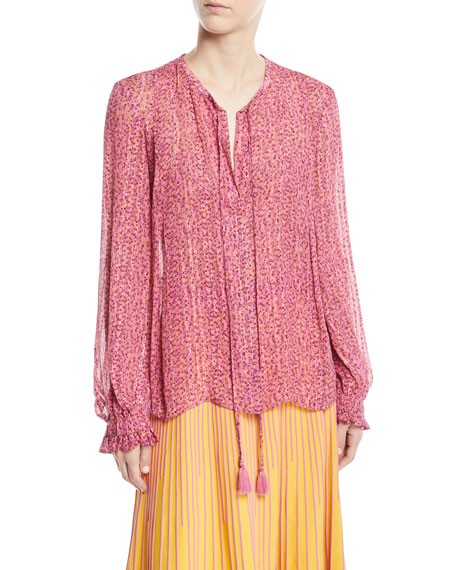 Derek Lam 10 Crosby Long-Sleeve Floral Metallic Tie-Neck