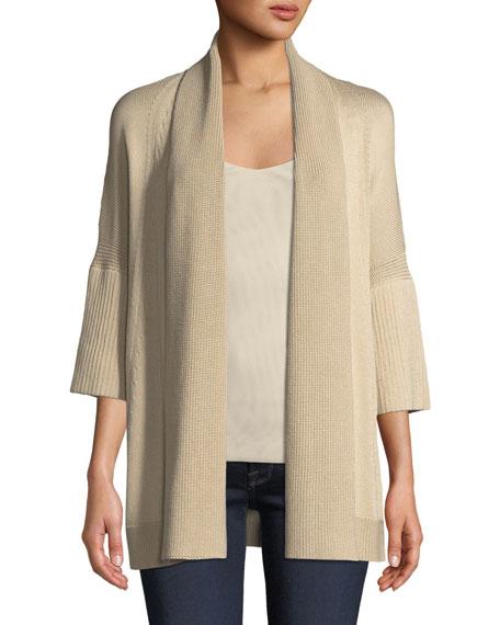 Short-Sleeve Open-Front Cardigan