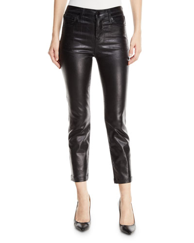 Ruby High-Rise Crop Cigarette Coated Jeans
