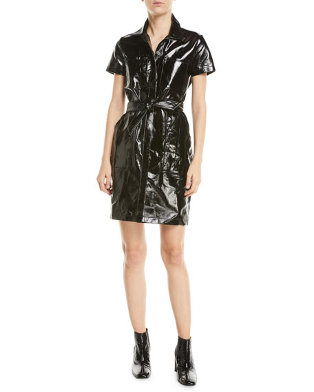 Lucille Belted Patent-Leather Mini Shirt Dress in Black