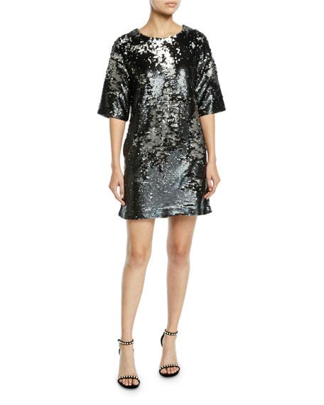 Lily Sequin Short-Sleeve Shift Dress
