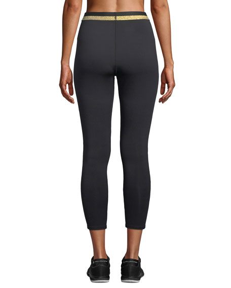 bi-stripe metallic waistband cropped leggings