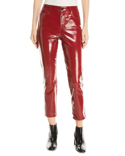 Ruby Leather High-Rise Crop Cigarette Pants