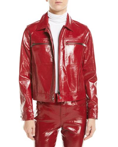 Yvette Zip-Front Leather Moto Jacket