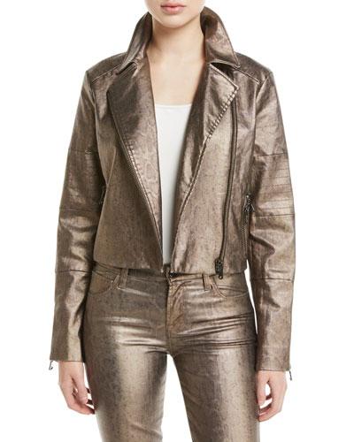 Aiah Zip-Front Metallic Moto Jacket