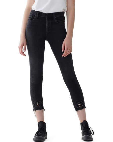 Sophie High-Rise Cropped Skinny Jeans With Frayed Hem, Black